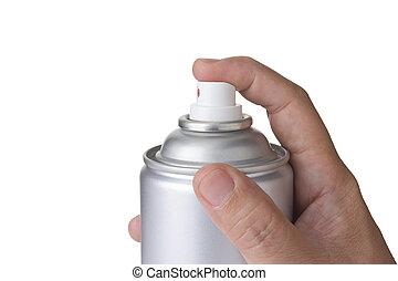 man hand spraying blank Metal spray paint Can, aerosol can
