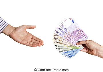 man hand taking euro notes