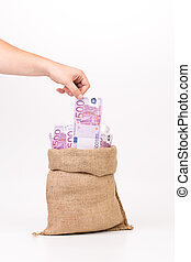 Man hand taking money euro bill from bag.