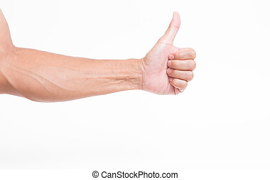 Man hand thumb up on white background