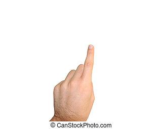 man hand touch virtual screen