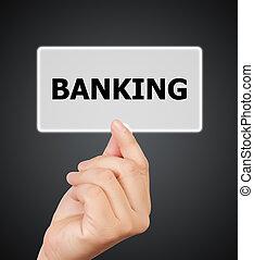 man hand touching button banking keyword.