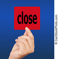 man hand touching button close keyword.