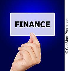 man hand touching button finance keyword.