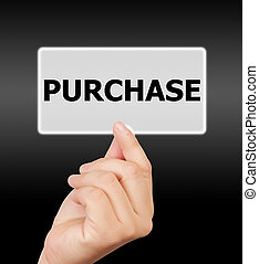 man hand touching button purchase keyword.