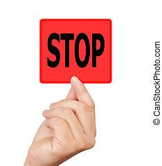 man hand touching button stop keyword