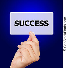 man hand touching button success keyword.