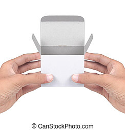 man hand with a box isolated