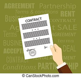 Man hand with a contract