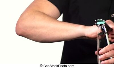 man hand with bottle of water isolated on white background.