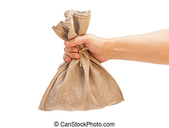Man hand with burlap sack on white background