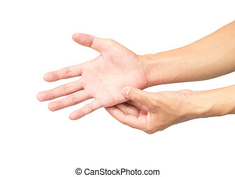 Man hand with pain on white background, health care and medical concept