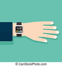Man hand with smart watch vector illustration isolated
