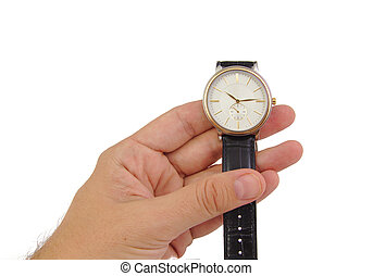 Man hand with watch isolated on white background
