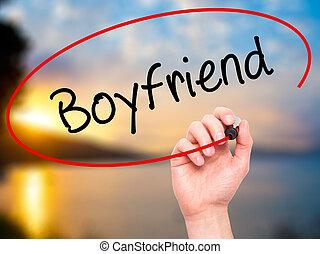 Man Hand writing Boyfriend with black marker on visual...