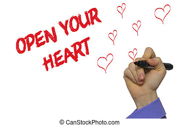 Man Hand writing Open your heart with marker on transparent wipe board