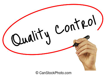 Man Hand writing Quality Control with black marker on visual screen. Isolated on background. Business, technology, internet concept. Stock Photo
