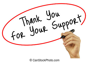 Man Hand writing Thank you For Your Support with black marker on visual screen. Isolated on background. Business, technology, internet concept. Stock Photo