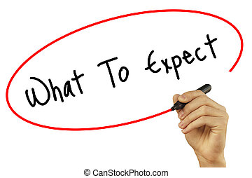 Man Hand writing What To Expect with black marker on visual screen. Isolated on background. Business, technology, internet concept. Stock Photo