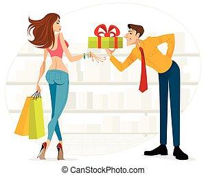 Man handing woman a gift