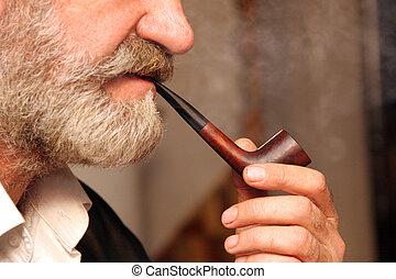 tobacco pipe - man handle tobacco pipe