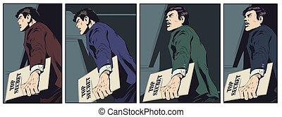 Man handling confidential documents. Stock illustration.