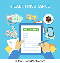 Man hands and the form of health insurance. Healthcare...