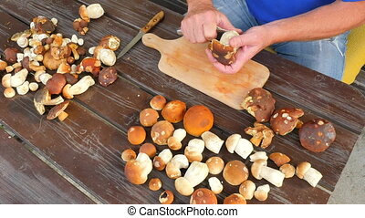 Man hands carefully cleaning wild mushroom with kitchen...