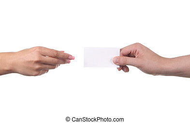 Man hands hold a business card