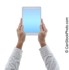 Man hands hold digital tablet isolated on white background with clipping path