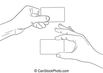 Man hands holding a blank cards outline contour vector ...