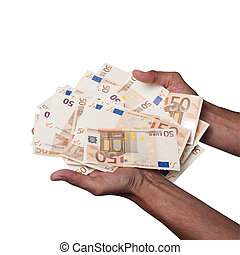Man Hands holding a pile of fifty euros banknotes isolated