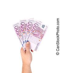Man hands holding five hundred euro banknotes.