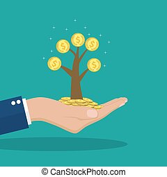 Man hands holding money tree.