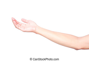 Man hands holding something isolated on white background with clipping path