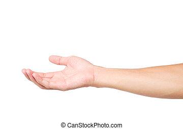 Man hands holding something on white background