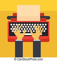 Man hands on typewriter icon, flat style
