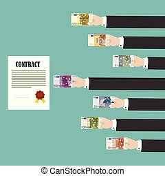 Man hands paying for contract. Corruption in business. Vector illustration in flat design
