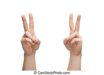 man hands showing v-sign