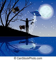Man hands stretch UFO abduction night sky