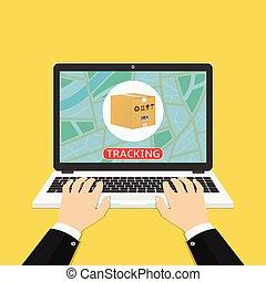 Man hands using laptop for online parcel tracking. Flat ...