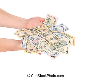 Man hands with dollars.
