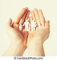 man hands with paper men