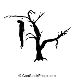 Man hanged from a dead tree