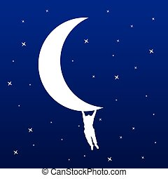 man hanging on the moon vector illustration