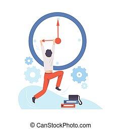 Man hangs on the arrow of a huge clock. Vector illustration.