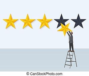 Man Hangs Rating Golden Star Stands on Step-Ladder