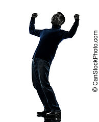 man happy stong victorious silhouette full length - one...