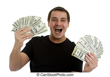 man holding lots of 100 dollar bills in his hands, isolated on white background