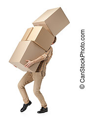 Man hardly carries the cardboard boxes, isolated, white...